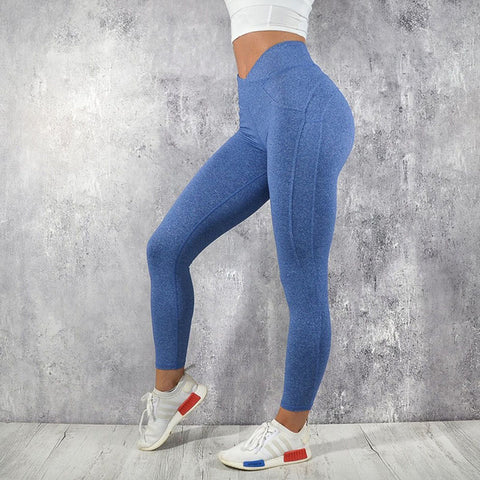 Fitness workout leggings - My rules blue - High waisted - Scrunch back
