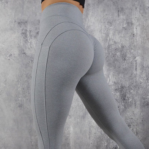 a21b7353f40840 Fitness workout leggings - My rules grey - High waisted - Scrunch back