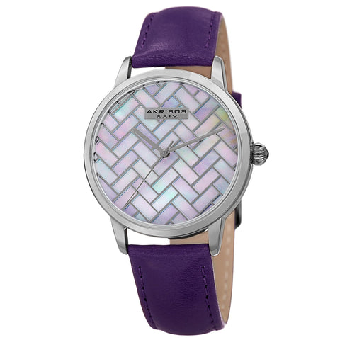 Akribos XXIV Women's  Quartz Geometric Dial Leather Strap Watch AK906PU