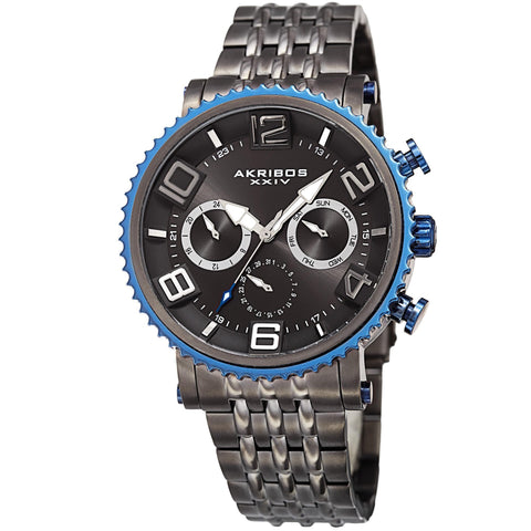Akribos XXIV Men's Quartz Multifunction Stainless Steel Gun Bracelet Watch AK917GN