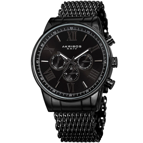 Akribos XXIV Men's Swiss Quartz Multifunction Mesh Bracelet Watch AK919BK