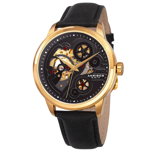 Akribos XXIV Men's Skeleton Automatic Movement Leather Gold-Tone Strap Watch AK855YGB