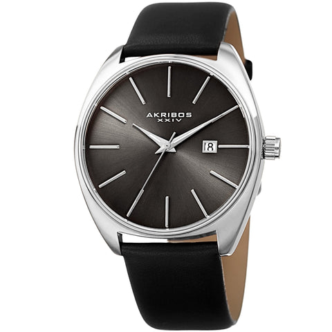 Akribos XXIV Men's Quartz Date Leather Strap Watch AK945SSBK