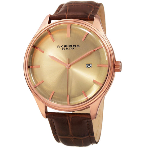 Akribos XXIV Men's Classic Date Leather Strap Watch AK914RGBR