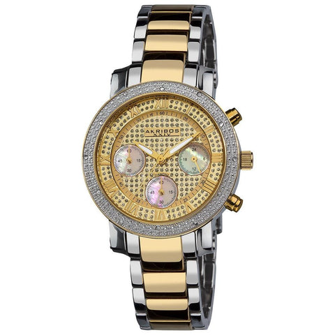 Akribos XXIV Women's Diamond Quartz Chronograph Round Bracelet Watch AK440YG