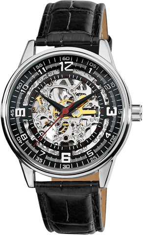 Akribos XXIV Men's 'Saturnos' Black Skeleton Automatic Watch AK410SS