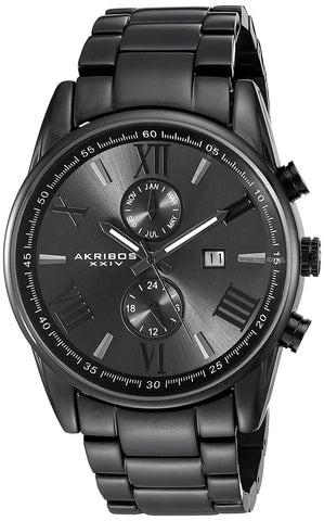 Akribos XXIV Men's Swiss Quartz Dual-Time Multifunction Stainless Steel Bracelet Watch AK812BK