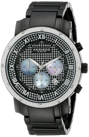 Akribos XXIV Men's Diamond-accented Black Chronograph Bracelet Watch AK439BK