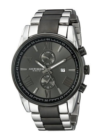 Akribos XXIV Men's Swiss Quartz Dual-Time Multifunction Stainless Steel Bracelet Watch AK812TTB