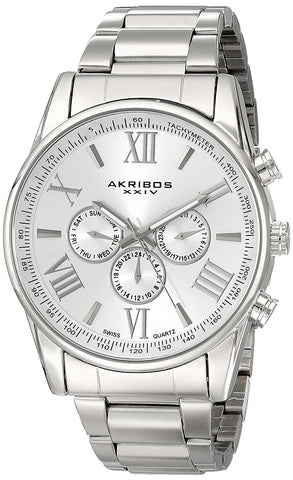 Akribos XXIV Men's Multifunction Tachymeter Stainless Steel Bracelet Watch AK736SS