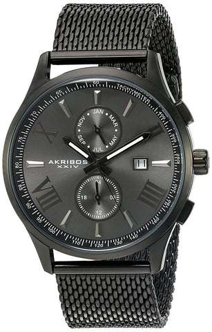 Akribos XXIV Men's Multifunction Stainless Steel Bracelet Watch AK905BK