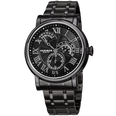 Akirbos XXIV AK1001BK Men's Quartz Retrograde Date Black Bracelet Watch