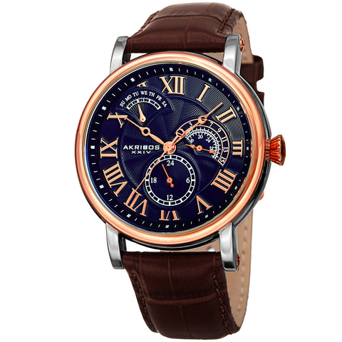 Akirbos XXIV AK1003RGBU Men's Date Alligator Embossed Classic Blue Brown Leather Strap Watch