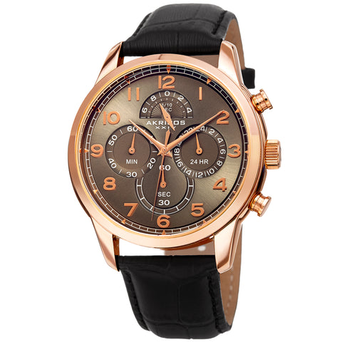 Akirbos XXIV AK1004RGBK Men's Chronograph Classic Black Leather Strap Watch