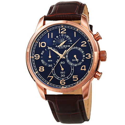 Akribos XXIV AK1004RGBU Men's Chronograph Classic Leather Strap Watch