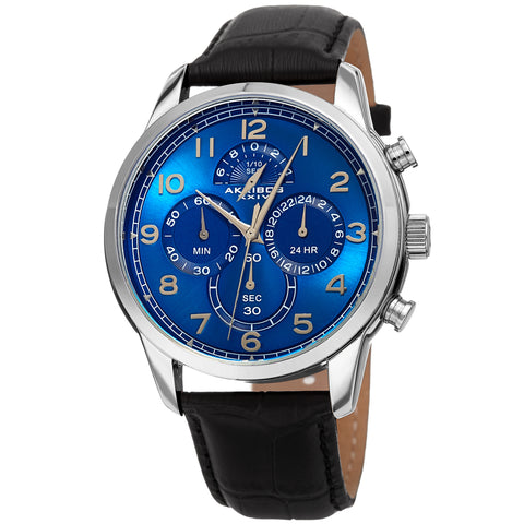 Akribos Chronograph Multifunctional Men's AK1004SSBK Watch - Leather Strap Concentric Circles Four Chronograph Subdials