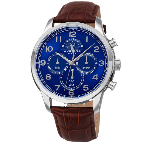 Akirbos XXIV AK1004SSBR Men's Chronograph Classic Leather Strap Watch