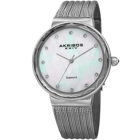 Akribos XXIV Women's Mother-of-Pearl Dial on Mesh Bracelet Watch AK1009SS