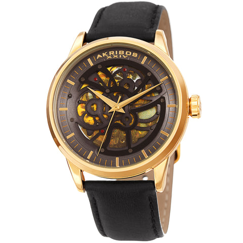 Akirbos XXIV AK1018YG Men's Automatic Skeletal Gold-Tone Black Leather Strap Watch