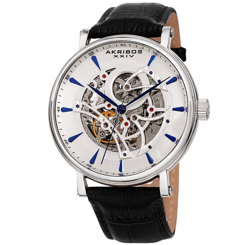 Akribos XXIV Men's Automatic Skeleton Dial Leather Strap Watch AK1020SSBK