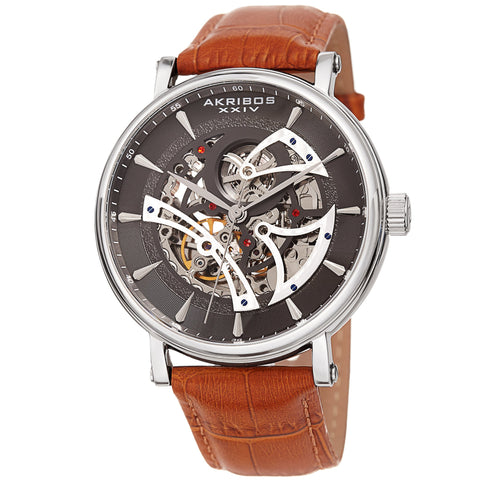 Akribos XXIV Men's Automatic Skeleton Dial Leather Strap Watch AK1020SSBR