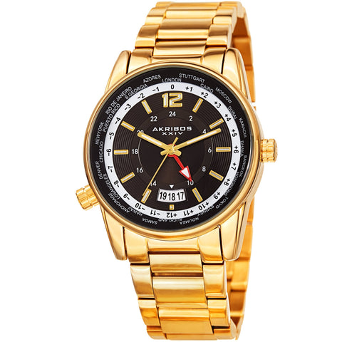 Akribos XXIV Men's AK1021 Dual Time Zone Bracelet Watch AK1021YGB