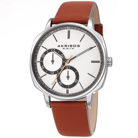 Akribos XXIV Men's AK1022 Sand Blasted Dial Leather Strap Watch AK1022TN