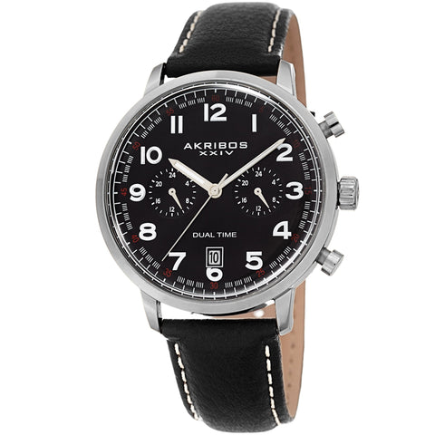 Akribos XXIV Men's Quartz Mulitfunction Leather Strap Watch AK1023BK
