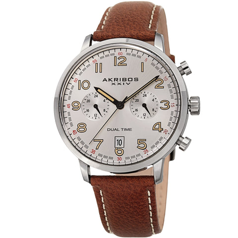 Akribos XXIV Men's Quartz Mulitfunction Leather Strap Watch AK1023SSBR