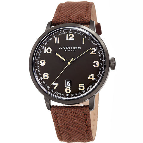 Akribos XXIV Men's Quartz Matte Dial Canvas Leather Strap Watch AK1025BKBR