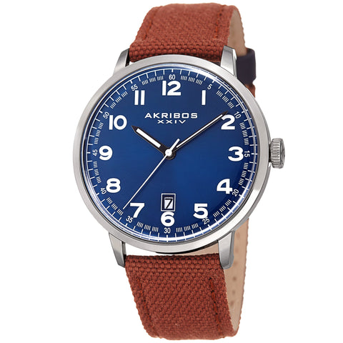 Akribos XXIV Men's Quartz Matte Dial Canvas Leather Strap Watch AK1025BRBU