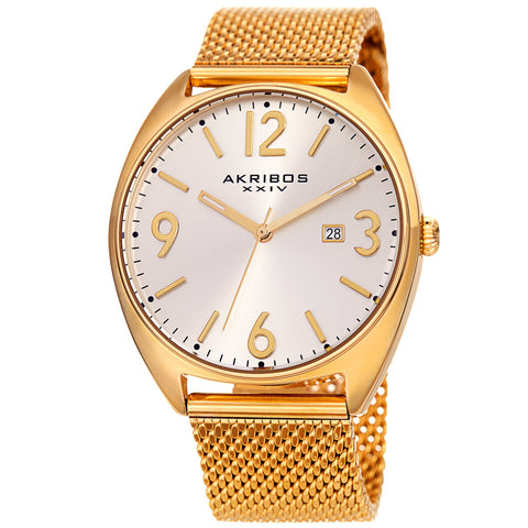 Akribos XXIV Men's Quartz Sunray Dial Mesh Bracelet Watch AK1026YG