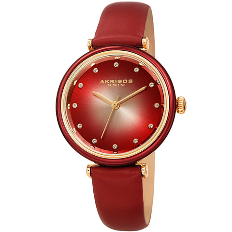 Akribos XXIV Women's AK1035 Swarovski Crystal Markers Red Leather Strap Watch AK1035RD