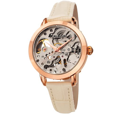 Akribos XXIV Women's AK1037  Skeleton Dial Leather Strap Watch AK1037BG
