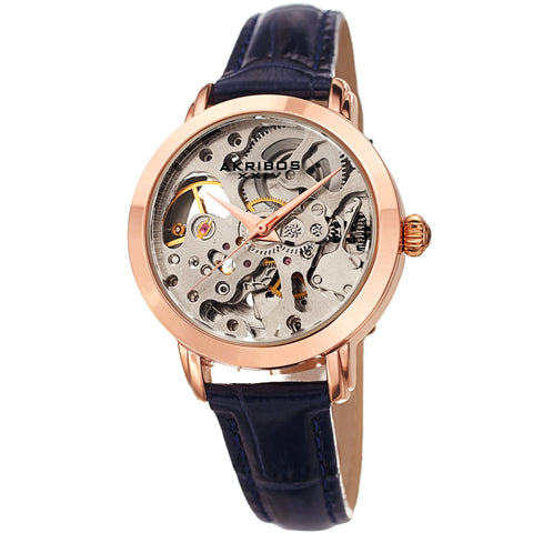 Akribos XXIV Women's AK1037  Skeleton Dial Leather Strap Watch AK1037BU