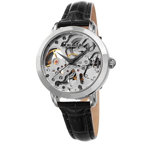 Akribos XXIV Women's AK1037  Skeleton Dial Leather Strap Watch AK1037SSBK
