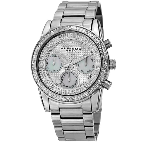 Akribos XXIV Men's Diamond Accented Mother of Pearl Sparkling Dial Stainless Steel Bracelet Watch AK1040SS