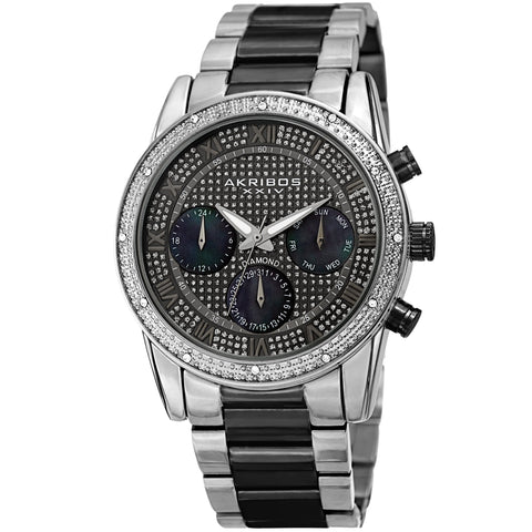 Akribos XXIV Men's Diamond Accented Mother of Pearl Sparkling Dial Stainless Steel Bracelet Watch AK1040TTB
