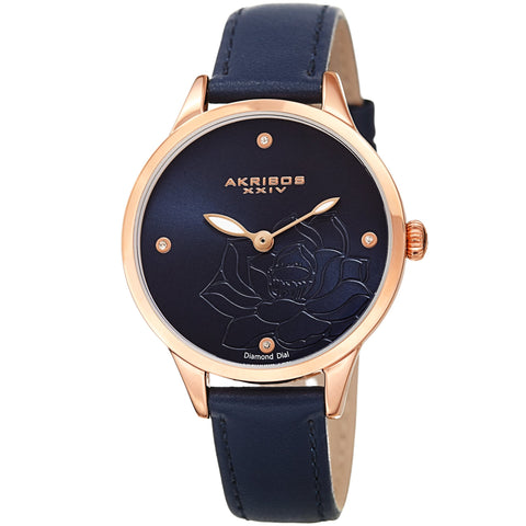 Akribos XXIV Women's Diamond Accented Flower Engraved Dial Leather Strap Watch AK1047BU