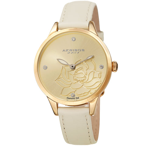 Akribos XXIV Women's Diamond Accented Flower Engraved Dial Leather Strap Watch AK1047WT