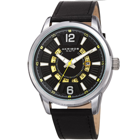 Akribos XXIV AK1079SSBK Men's Date Wheel Strap Watch – Quartz Wristwatch