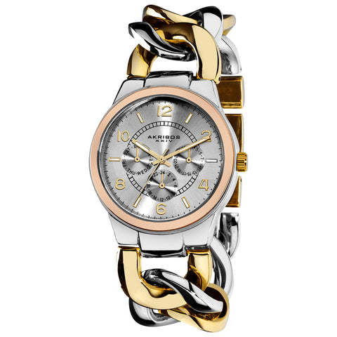 Akribos XXIV AK558TTR Multifunction Crystal Accented Twist Chain Watch