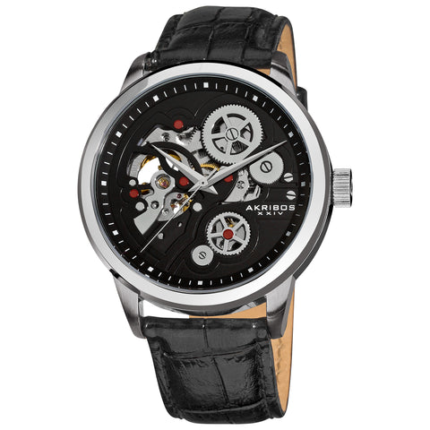 Akirbos XXIV AK538BK Men's Mechanical Skeleton Leather Black Strap Watch with Tang Buckle Clasp