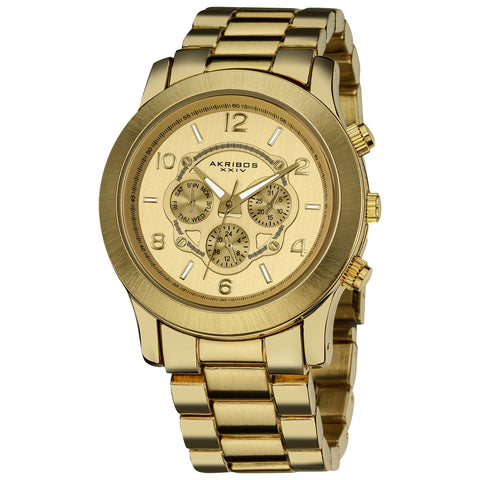 Akribos XXIV Women's  AK583YG Quartz Day Date Multifunction Bracelet Watch