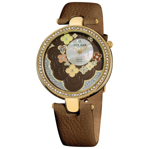 Akribos XXIV Women's Snake-Patterned Leather Brown Strap Flower Dial Watch AK601BR