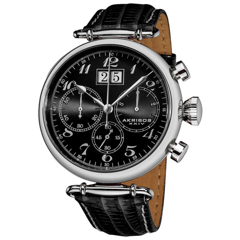 Akribos XXIV Men's Retro Chronograph  Leather Strap Watch AK628BK
