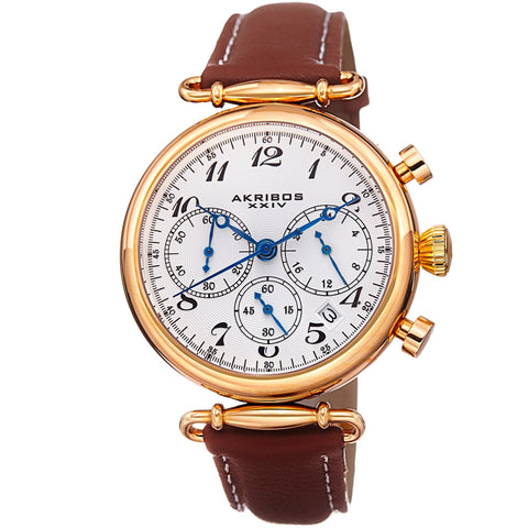 Akribos XXIV Men's Retro Chronograph  Leather Strap Watch AK630TNYG
