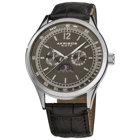 Akirbos XXIV AK638SSB Men's Swiss Quartz Moon Phase Leather Silver-Tone Strap Watch with Taupe Dial