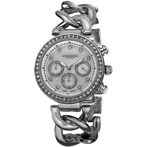 Akribos XXIV Women's Swiss Quartz Multifunction Twist Chain Silver-Tone Watch AK640SS