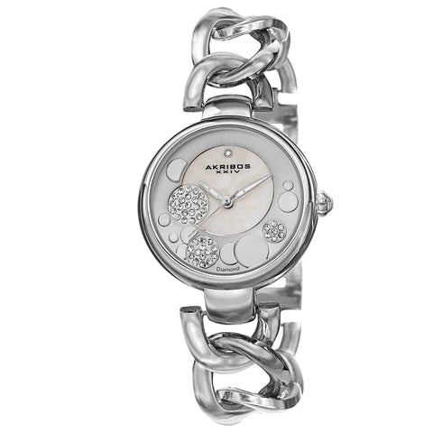 Akribos XXIV Women's AK678SS Quartz Diamond MOP Dial Twist Chain Link Watch